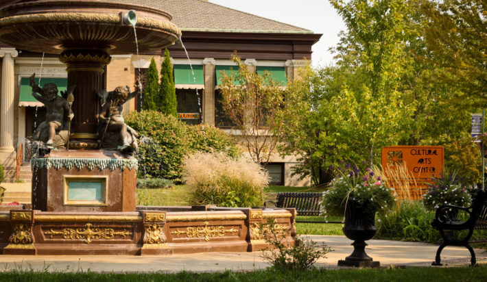 A fountain sits in front of the Cultural Arts Center in Whitewater, WI