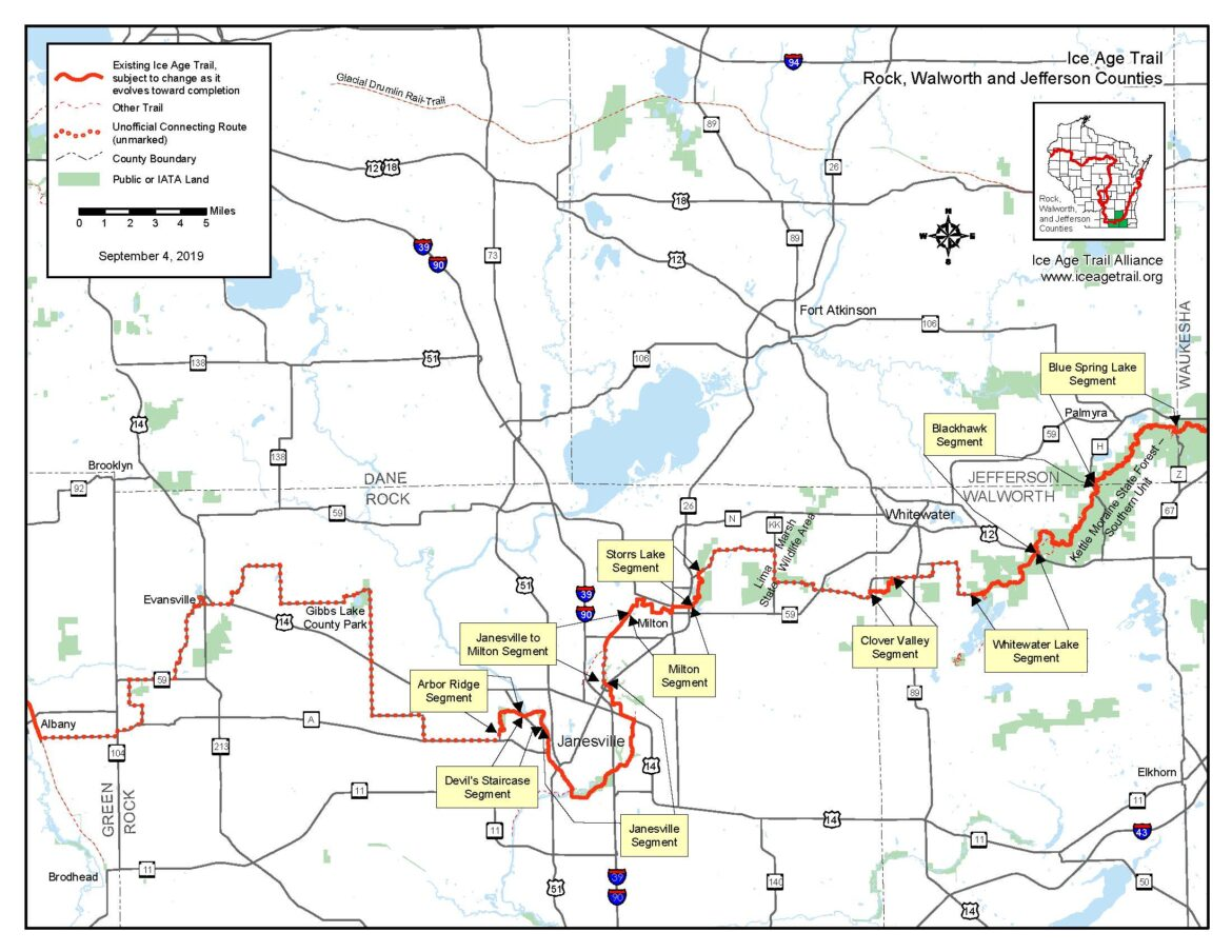 Walworth / Jefferson County Ice Age Trail Map